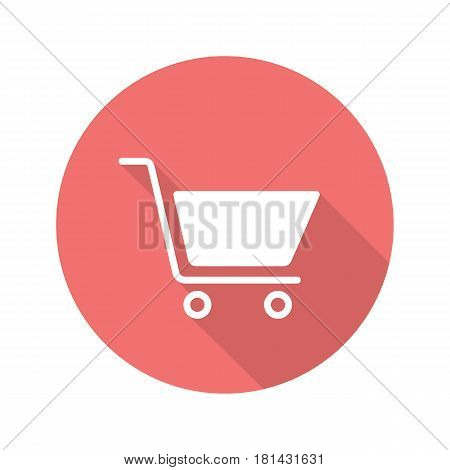 Shopping cart flat design long shadow icon. Add to cart sign. Vector silhouette symbol