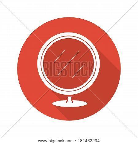 Shaving mirror flat design long shadow icon. Bathroom portable round mirror. Vector silhouette symbol