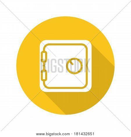 Bank vault flat design long shadow icon. Safe deposit box. Vector silhouette symbol