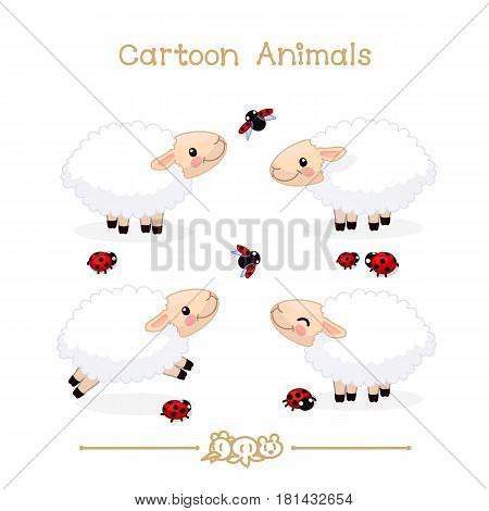 Toons series cartoon animals: cute little sheeps