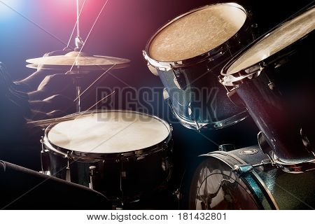 The Man Is Playing Drumset