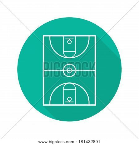 Basketball court flat linear long shadow icon. Vector line symbol
