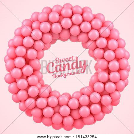 Pink candy balls round frame with place for your content. Vector illustration Eps 10