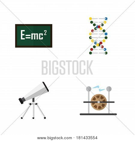 Flat Science Set Of Scope, Genome, Electrical Engine And Other Vector Objects. Also Includes Electrical, Telescope, Genome Elements.