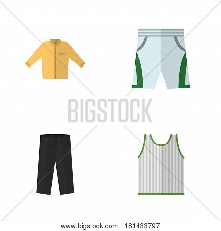 Flat Clothes Set Of Banyan, Singlet, Pants And Other Vector Objects. Also Includes Trousers, Cloth, Sleeveless Elements.