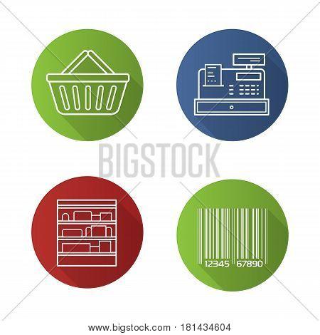 Supermarket flat linear long shadow icons set. Shopping basket, cash register, bar code, shop shelves. Grocery store items. Vector line illustration