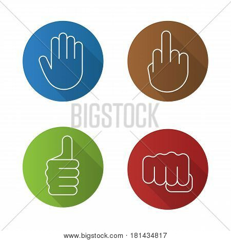 Hand gestures flat linear long shadow icons set. Middle finger up, palm, punch, thumbs up. Vector line illustration