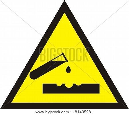 Warning acid sign. Triangle yellow chemistry sticker. Test tube with acid drop. corrosive sign.