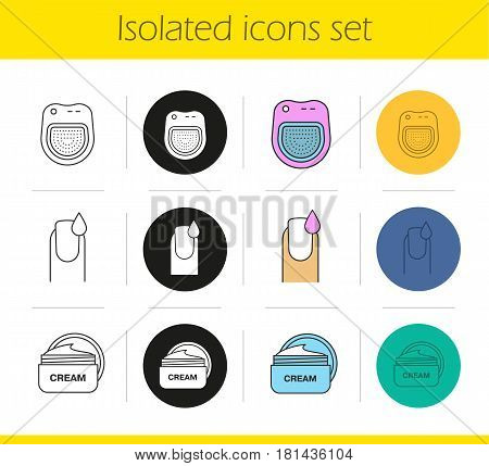 Manicure icons set. Linear, black and color styles. Spa salon manicure bath, woman's nail with polish drop, cream jar. Isolated vector illustrations