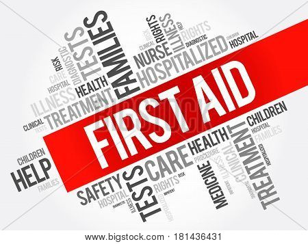 First aid word cloud collage health concept background