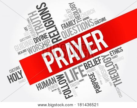 Prayer word cloud collage religion concept background