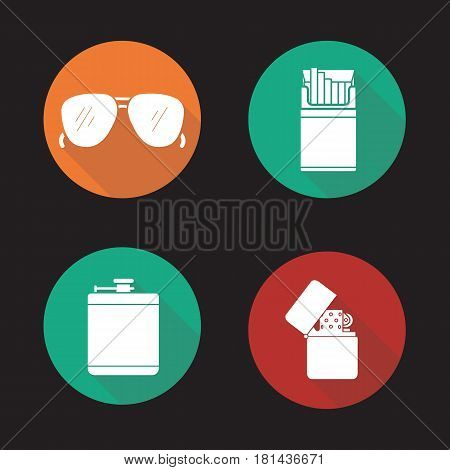 Men's accessories flat design long shadow icons set. Alcohol hip flask, open cigarette pack, sunglasses and flip lighter. Vector silhouette illustration