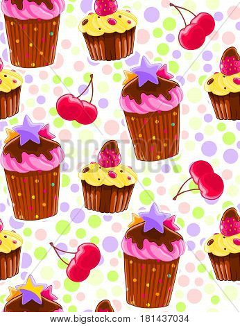 Seamless decorative pattern with muffins and cherries in cartoon style. Polka dot background. Sweet pastry texture