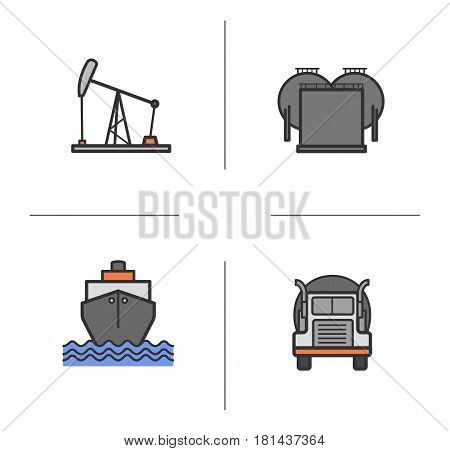 Oil industry color icons set. Transportation truck, shipping tanker, oil derrick and storage. Isolated vector illustrations