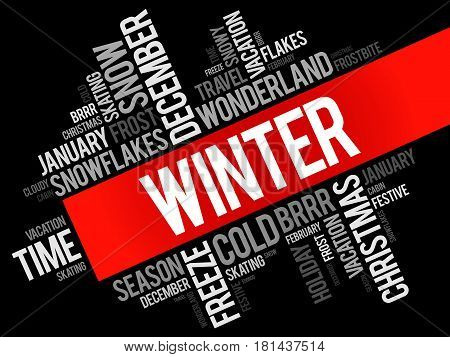 Winter word cloud collage , concept background