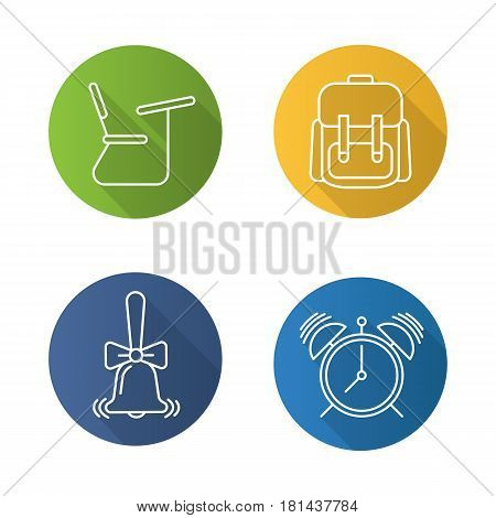 School and education. Flat linear long shadow icons set. Student's backpack, alarm clock, ringing school bell, desk. Vector line illustration