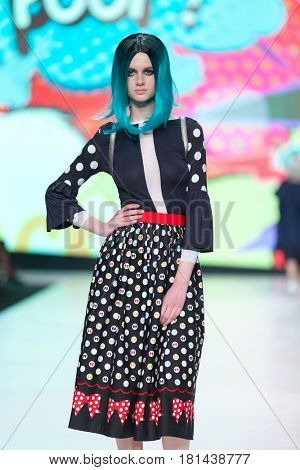 ZAGREB, CROATIA - APRIL 1, 2017: Fashion model wearing clothes 'BiteMyStyle by Zoran Aragovic' from the spring/summer collection at the 'Fashion.hr' fashion show