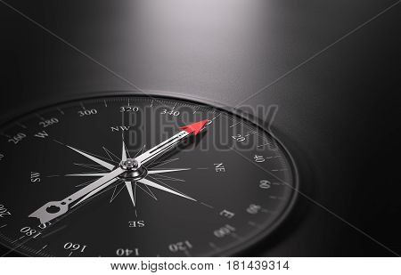 3D illustration of a compass over black background with needle pointing the north direction free space on the right side of the image. Business or career orientation concept.