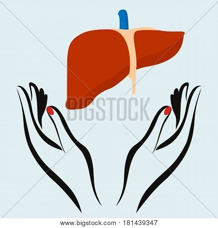 Vector illustration of a Hand Holding with Live. World Hepatitis Day.