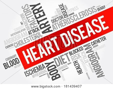 Heart Disease word cloud collage health concept background