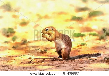 Ground squirrel colorful painting portrait on natural background