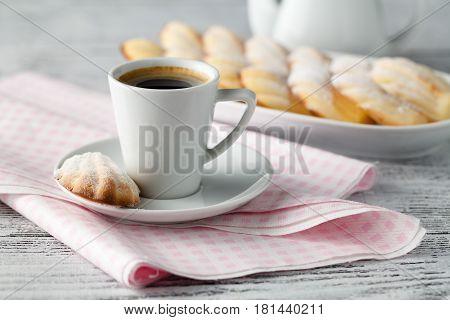 Icing Lemon Vanilla Madeleine (shell-shaped Cookies) On Plate