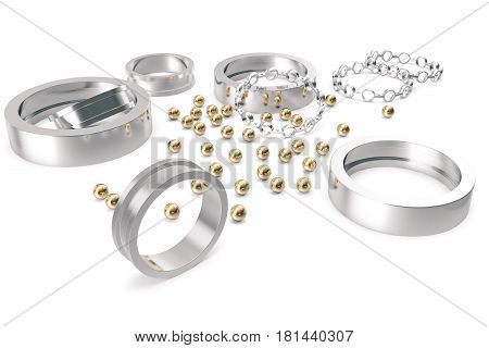 Bearing- assembly assembly, being part of the support. 3d rendering on a white background.