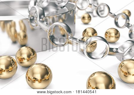 Conception of equipment. A group of bearings on a white background, 3d rendering.