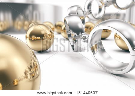 Machining ball bearings on a white background. 3d rendering