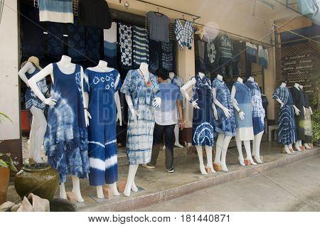 Street Market Tie Batik Dyeing Clothes Mauhom Indigo Natural Color Shop For People Traveler Visit An