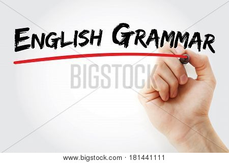 Hand Writing English Grammar With Marker