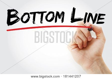 Hand Writing Bottom Line With Marker