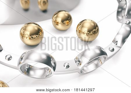 Conception of equipment. A group of bearings on a white background. 3d rendering.