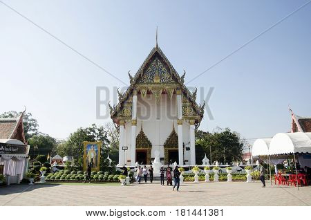 Asian Thai People Praying And Respect With Buddha Statue Name Luang Pho Phet In Ubosot At Wat Tha Lu