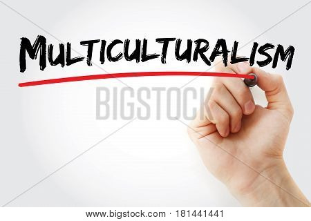Hand Writing Multiculturalism With Marker