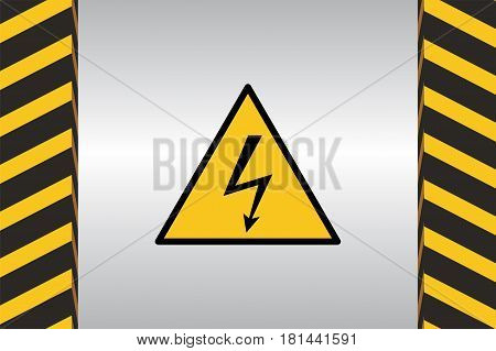 Warning sign of electric danger and dimensional marking.
