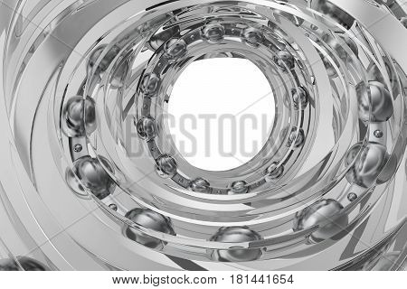 Realistic glass whirling bearing in the bearing white background, 3d rendering