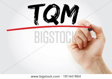 Hand Writing Tqm - Total Quality Management With Marker