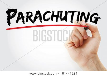 Hand Writing Parachuting With Marker
