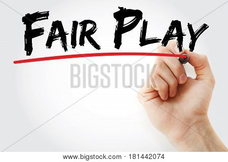 Hand Writing Fair Play With Marker