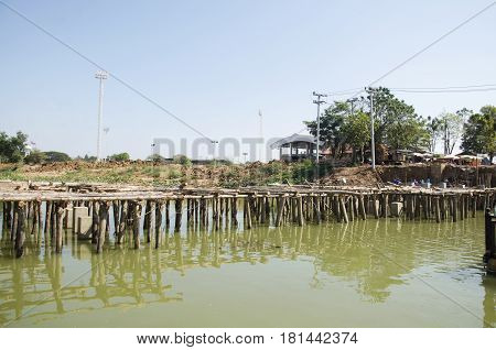 Asian Thai Workers And Team Working Builder New Building Bridge At Construction Site Of Bueng Boraph