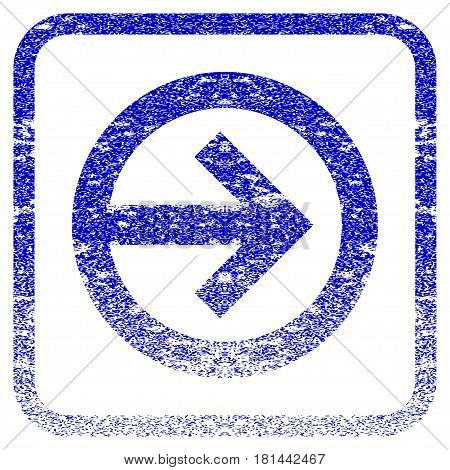 Direction Right textured icon for overlay watermark stamps. Blue vectorized texture. Flat vector symbol with dust design inside rounded square frame. Framed blue rubber seal stamp imitation.