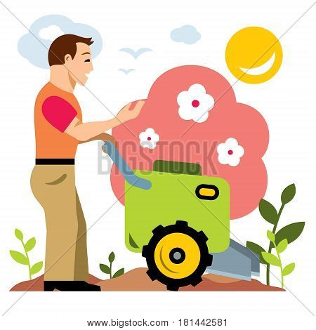 Man with tractor cultivating field at spring. Isolated on a white background