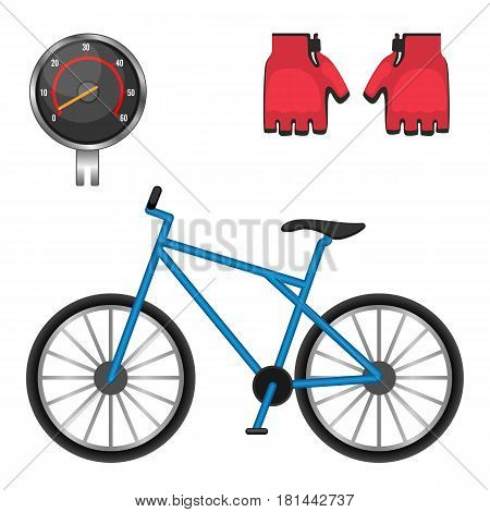 Cycling speedometer, protective leather gloves, modern bicycle icons vector illustration isolated on white background. Biking accessories set and modern bike symbol