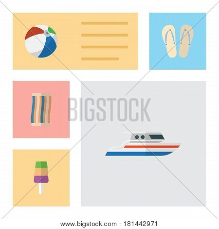 Flat Hot Set Of Sphere, Sundae, Beach Sandals Vector Objects. Also Includes Sundae, Wiper, Ball Elements.
