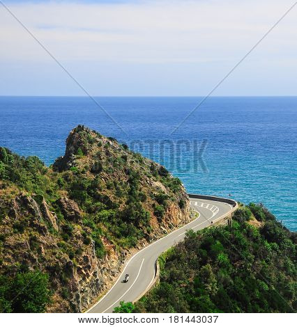 Road Green Mountains Sky Blue Ocean