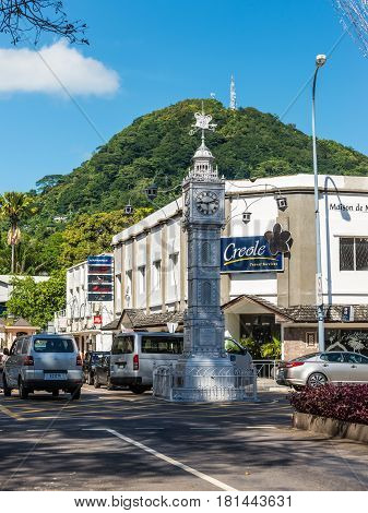 Victoria Mahe Seychelles - December 16 2015: The clock tower of Victoria also known as Little Big Ben Victoria Mahe Seychelles Indian Ocean East Africa.