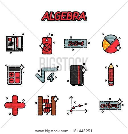 Mathematical science. Algebra. Calculus. Geometry. Exact sciences. Education and scientific icons set. Vector flat design concept