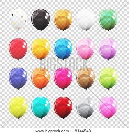 Big Set, Group of Colour Glossy Helium Balloons Isolated on Transparent Background. Vector Illustration EPS10
