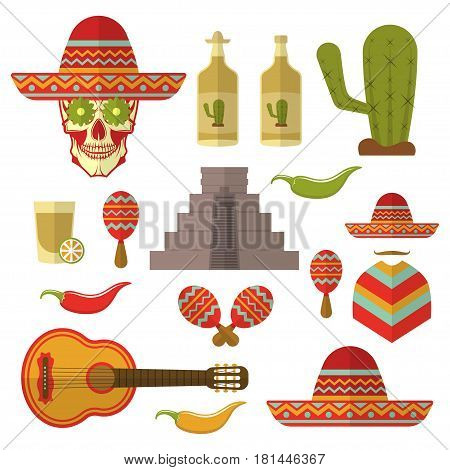 Set of color Mexico icons, design elements isolated on white background. flat style